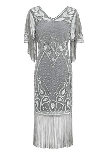Metme 1920s Dress Plus Size, 20s Party Dresses Art Deco Sequins Fringed Gatsby Flapper Cocktail Dress with 2/3 Sleeves Grey + Sliver, Medium, US 8-10