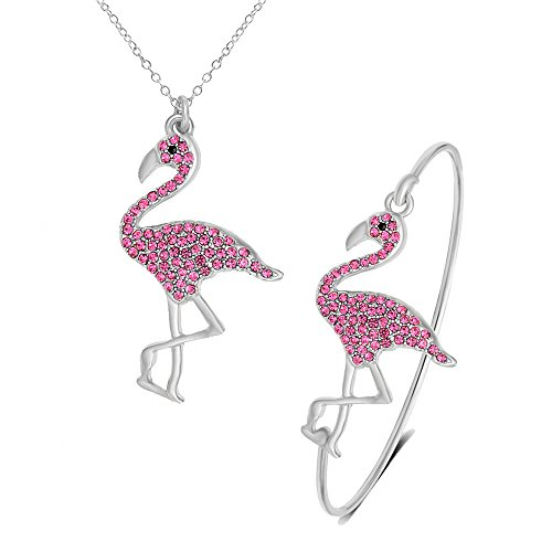SENFAI Pink Flamingo Bird Bangle Bracelet/Pendant Necklace/Dangle Earrings 3 Pcs Set for Women (Silver Bracelet + Necklace)
