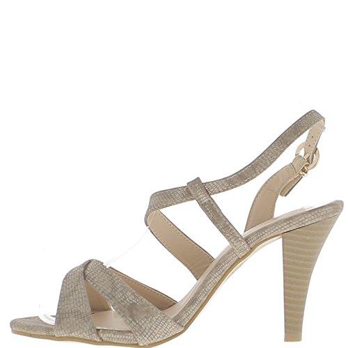 Sandales taupe à talon fin de 9,5cm aspect argenté fines brides