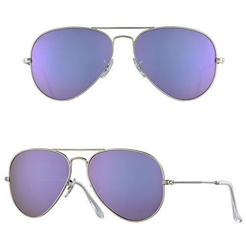 BNUS Corning natural glass New Aviator Polarized Sunglasses Italy made for Women (Frame: Matte Silver / Lens: Lilac Mirrored, - S Sunglasses Polarized Women