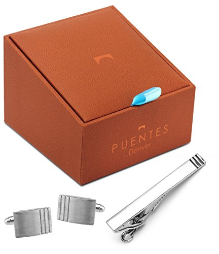 Men's Classic Silver Cufflinks and Tie Bar Clip Set for French Cuff Dress Shirts with Gift Box