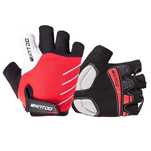 Wantdo Cycling Gloves Half Finger,Ultra Light Breathable Lycra Anti-Slip Shock Bike Gloves,Silica Gel Pad Grip for Riding Driving Mountain Road - Anti Half Pad Slip