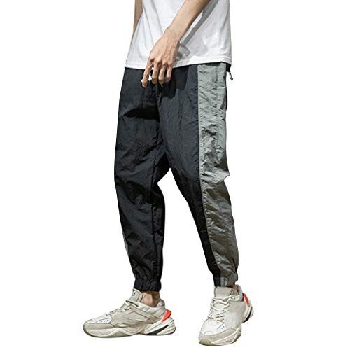 ♞Deadness-Mens Men's Athletic Running Sport Jogger Pants with Zipper Pockets Drawstring Athletic Tapered Leg Trousers Black ()