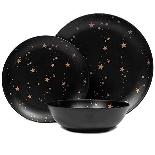 Melamine Plates and Bowls Set – 12pcs Dishes Dinnerware Set for 4, Dishwasher Safe, Black, Star Pattern