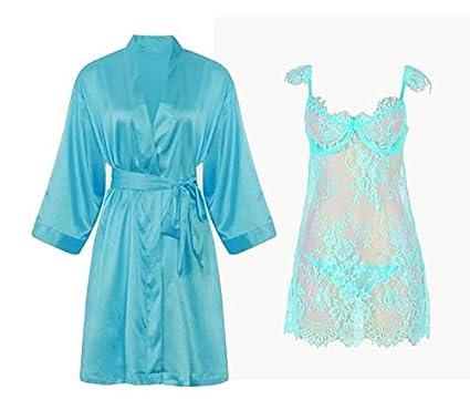 8cbd2d58e40 IngerT Nightwear Wedding Night Out Dress Set Silk Like V Neck Short ...