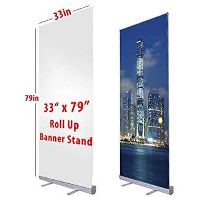 "Flexzion Retractable Banner Stand 33"" x 79"" Roll Up Stand Portable for Trade Show Sign Signage Store Display Wall Exhibition Aluminum Structure with Carrying Bag"