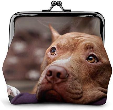 ホワイトサン がま口 財布 小銭入れ 闘牛犬の顔 11.5cm×10.5cm×3cm レザー 小物入れ コインケース