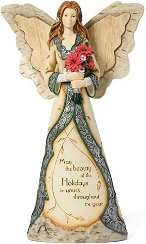 Holiday Elements by Pavilion Beauty of The Holidays Angel Figurine Holding Pointsettia, 12-Inch