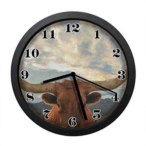wojuedehuidamai6 Silent Wall Clock - Texas Longhorn Steer Art Wall Clock - Decorative Wall Clock for Home、Office and Cafe with 12in ()
