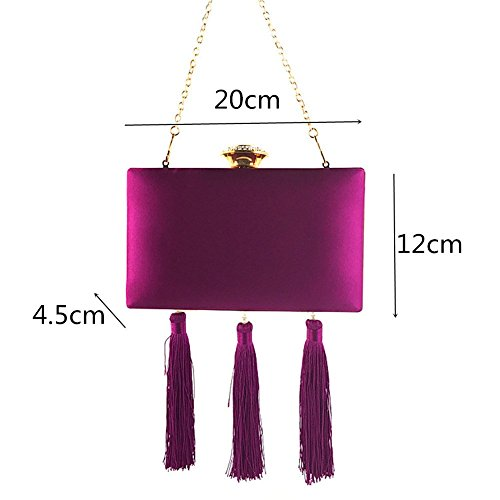 Wedding Handbag Dress Evening MSFS Rhinestone Women Velvet Out Party Tassel Shoulder Black Clutch Wc8qXdPAq