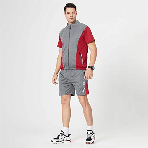 Men's Sports T-Shirt Suit, Summer Leisure Plus Size Fitness Outdoor Running Two-Piece Suit(Gray-5,XL)
