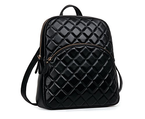 Ainifeel Women's Quilted Genuine Leather Backpack Casual Handbags Purse (Black) by Ainifeel Quilted&Chain Strap Collection