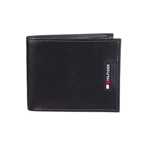 Tommy Hilfiger Men's RFID Blocking Leather Slimfold Wallet, Black, One Size