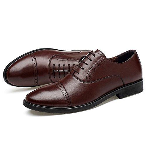 Marrone Uomo Scarpe stile shoes 2018 punta casual pelle da 38 EU Color Pelle Dimensione a uomo scarpe Oxford Jiuyue da Scarpe lavoro Marrone in inglese vera f1wqq
