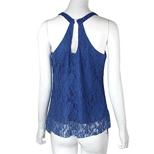 LHWY Las Mujeres Verano Casual Shirt Sin Mangas Chaleco Suelto Superior Blusa De Encaje Con Azul