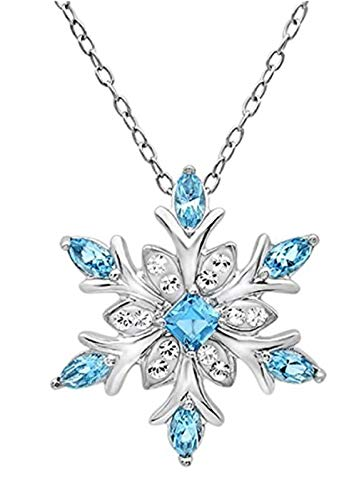 Sterling Silver Snowflake Pendant Necklace Layering Necklace 16 inch Blue Topaz Necklace Great Gift SSNK16-30S ()