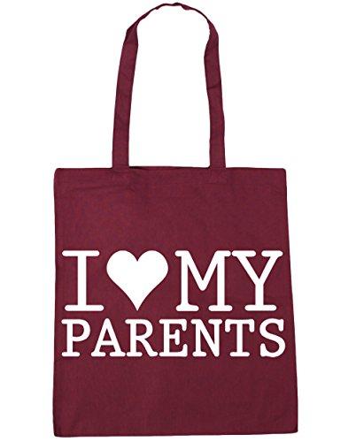 HippoWarehouse I Love My Parents Tote Shopping Gym Beach Bag 42cm x38cm, 10 litres