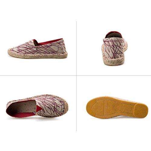 YOUJIA Unisex Espadrilles Stylish Graffiti Printed Flat Slip on Canvas Summer Pumps Shoes #1 Red B756he