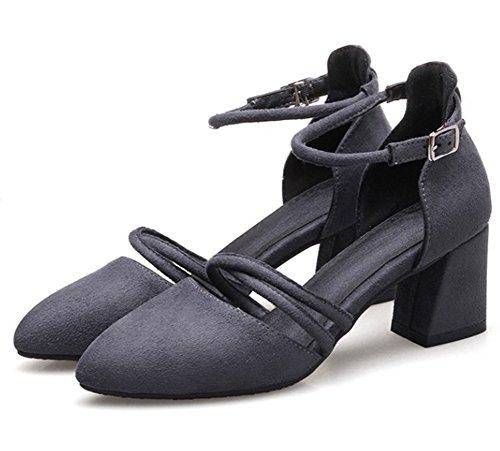 Easemax Kvinna Eleganta Spetsiga Tå Ankelbandet Medelklossklackar Sandaler Grå