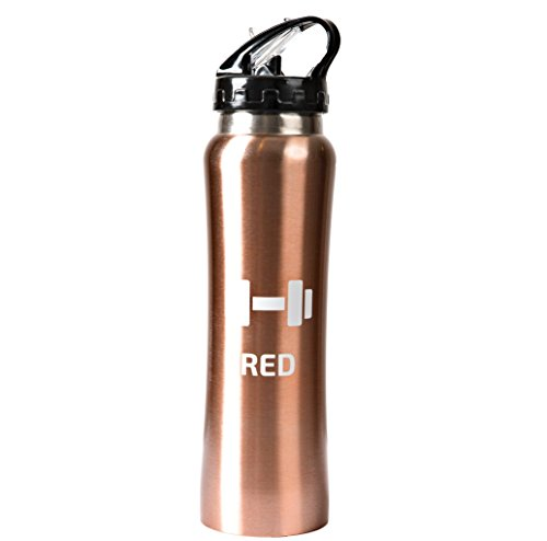 ROSE GOLD Stainless steel Water Bottle 17oz. Wide Mouth Mug With Leak Proof Flip Top Straw Cap .Great for Sports, Gym ,Outdoors Activities .Keeps Liquids Hot Or Cold For Hours