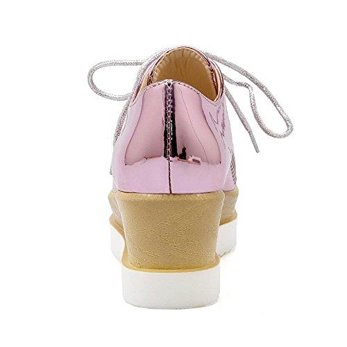 VogueZone009 Medio Punta Puro Chiusa Tacco Maiale Pelle Ballerine Donna Quedrata di Allacciare Punta AAxrwgBq