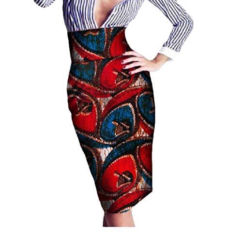 Mfasica Womens Batik High Waist Wrap OL Africa Print Vintage Bodycon Skirt 7 6XL by Mfasica