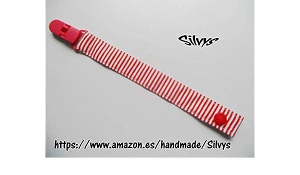 Chupetero de tela con clip Silvys, de color rojo y blanco a ...