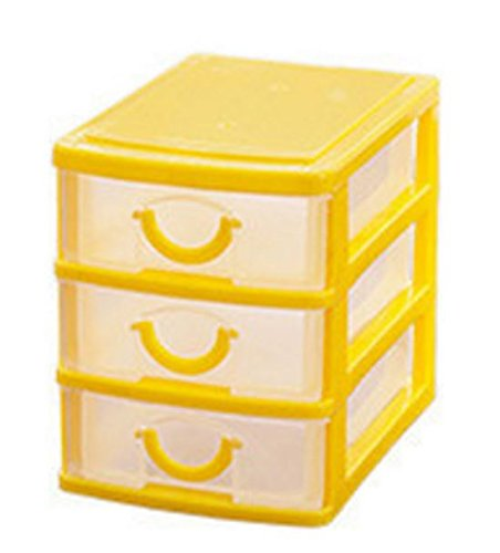 plastic storage box colored Desktop Plastic Storage Box with Three Drawers Jewelry Organizer Holder Cabinets Fit For Office Home plastic storage box drawers (Yellow)