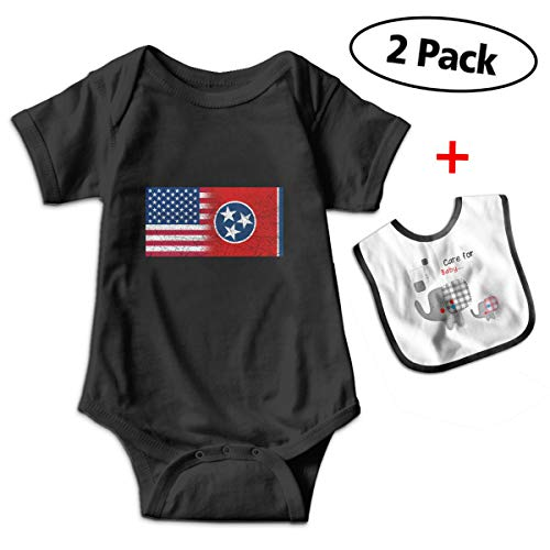 Leopoldson Tennessee American Flag Fusion Baby Boys' Short Sleeve Bodysuits Jumpsuit with Baby Bib