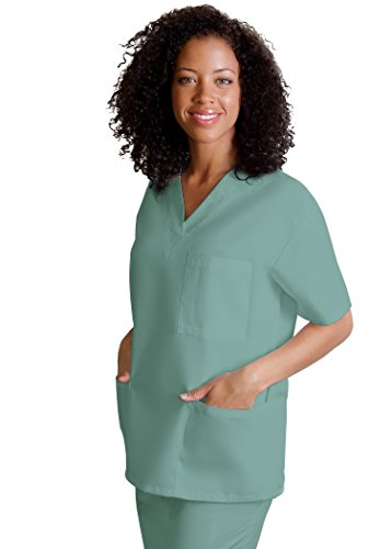Adar Uniforms Discounted Universal Comfy 3 Pocket Unisex V-neck Tunic Top - 601 - Seaspray - 2X