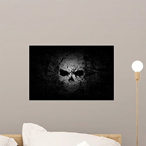 Wallmonkeys Grunge Skull Dark Background Wall Decal Peel and Stick Graphic WM237516 (18 in W x 12 in H) by Wallmonkeys