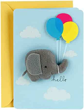 Hallmark Signature Baby Shower Card for Baby Boy (Elephant with Balloon)