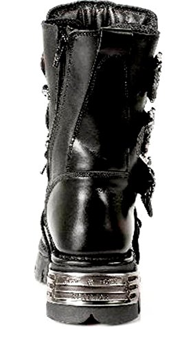Boots M 391 Biker Black Metallic Leather Gothic Stunning Rock Black S1 Unisex New qC4Aw