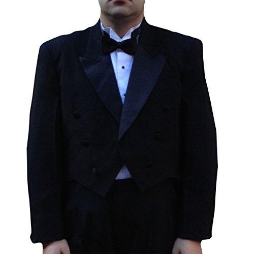 Peak Tailcoat - Men's Formal Tuxedo Tailcoat, Satin Peak Lapel Jacket with Tails, Black (36 Reg)