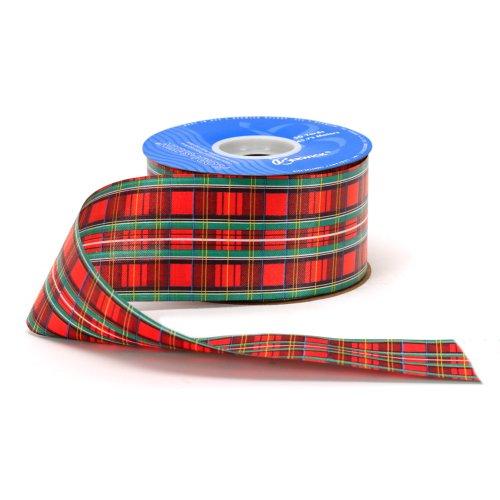 Berwick 2-1/2-Inch Wide by 50 Yard Spool Tartan Holiday Craft Ribbon, Red -
