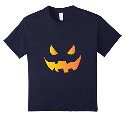 Kids Scary Pumpkin Face Tshirt For Halloween 12 Navy - Vampire Slayer Sexy Costumes