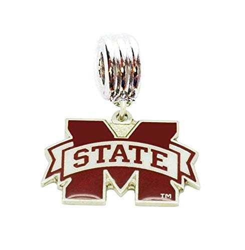 Heavens Jewelry MSU Mississippi State University Bulldogs Team Charm Slide Pendant for Your Necklace European Charm Bracelet (Fits Most Name Brands) DIY Projects ETC (The University Of Mississippi Sports Team Name)