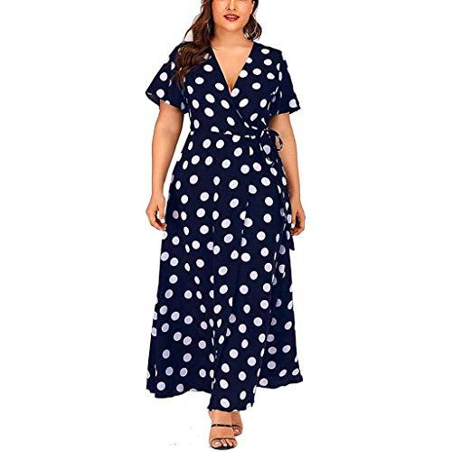 BODOAO Women's Polka Dot Printed Plus Size Dress Casual V-Neck Short-Sleeved Belt Dress (Dresses Plus Size Sale)