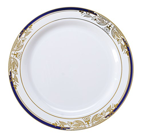 ... Signature Plate with Cobalt Trim \u0026 Gold St&ing  sc 1 st  Best Heavy Duty Stuff : clear plastic plates with gold trim - pezcame.com
