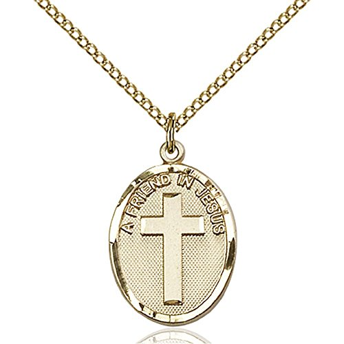Gold Filled Women's A FRIEND IN JESUS Pendant - Includes 18 Inch Light Curb Chain - Deluxe Gift Box Included by Bonyak Jewelry Saint Medal Collection
