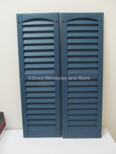 Shed Window with Blue Shutters 14 X 27 White J-Channel Safety Glass Playhouse Window by Shed Windows and More (Image #1)