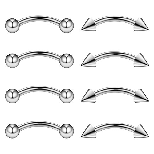 Ruifan 4PRS Eyebrow Piercing Jewelry Curved Barbell with Ball/Spike Kit Eyebrow Tragus Lip Ring 16g 16 gauge 8mm (Steel) (Eyebrow 16 Ring Gauge)