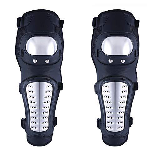 (OHMOTOR Knee Guards,Knee/Shin Guard Knee Pads Crashproof Antislip Protective Shin Pads for Motorcycle Mountain Biking ATV Motocross (Knee pads-Metal))