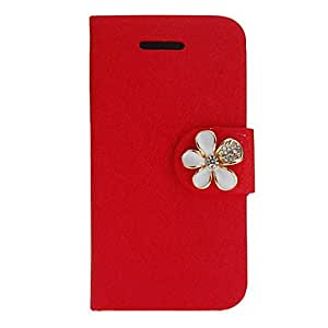 Silk Print PU Full Body Case with Diamond Button and Card Slot for iPhone 4/4S (Assorted Colors) , Rose