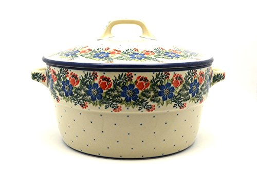 Polish Pottery Covered Casserole (Polish Pottery Baker - Round Covered Casserole - Garden Party)