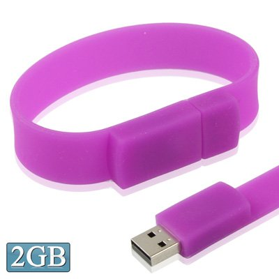 (2GB Silicon Bracelets USB 2.0 Flash Disk (Purple) Data Storage)