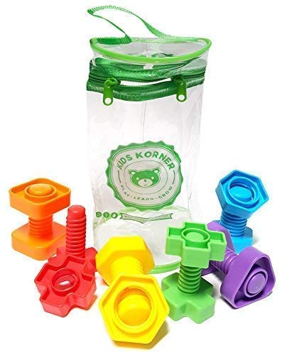 Nuts Laser - Jumbo Nuts and Bolts For Toddlers - Fine Motor Skills Rainbow Matching Game Montessori Toys For 1 2 3 Year Old Boys and Girls | 12 pc Occupational Therapy Educational Toys with Toy Storage + eBook