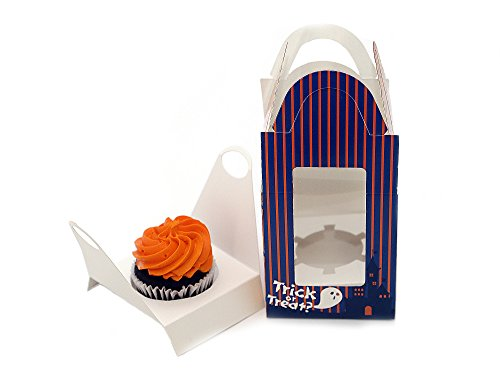 Halloween Cupcake Box With Window, 12 Count, Cupcake Container 4 1/2 Inches Tall