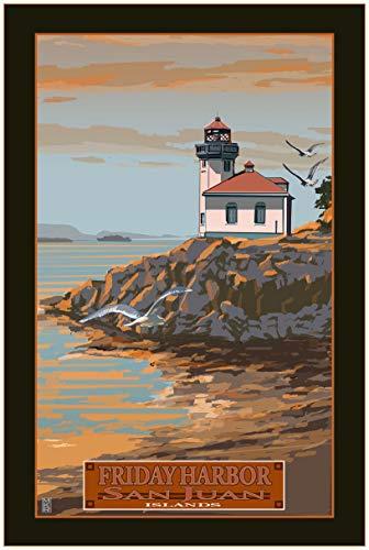 Friday Harbor Lime Kiln Lighthouse Travel Art Print Poster by Mike Rangner (24
