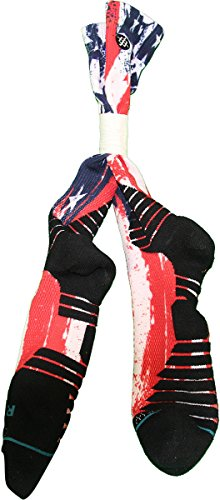 JARRETT JACK GAME USED BROOKLYN NETS RED WHITE & BLUE SOCK PAIR w/ STEINER COA